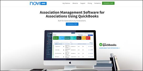 This is a screenshot of NoviAMS association management system website.